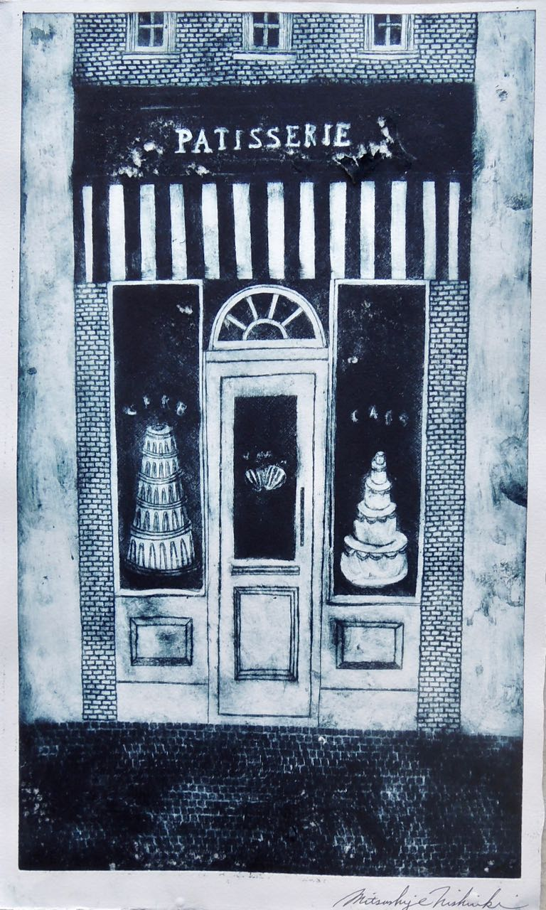 "Artist: Mitsushige Nishiwaki  Name: Patisserie Facade  Size: 10.25""x17.25""  Price:  Inquire   Method: etching  Condition: signed print"