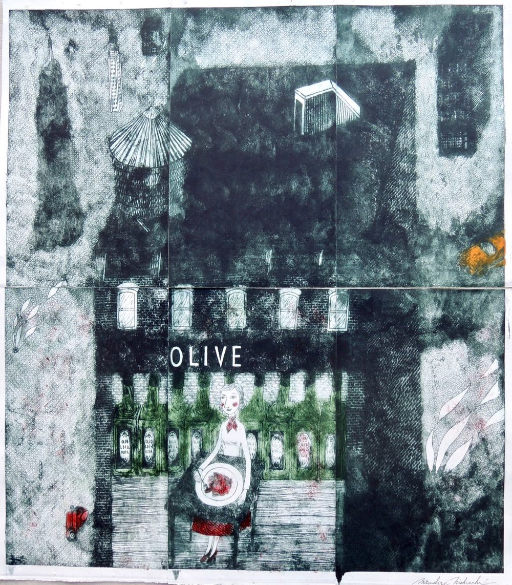 "Artist: Mitsushige Nishiwaki  Name: Olive  Size: 30.12""x34.5""  Price:  Inquire   Method: etching  Condition: signed print"
