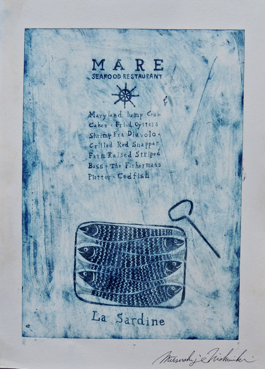"Artist: Mitsushige Nishiwaki  Name: Mare Restaurant on Blue  Size: 10.25""x14""  Price:  Inquire   Method: etching  Condition: signed print"