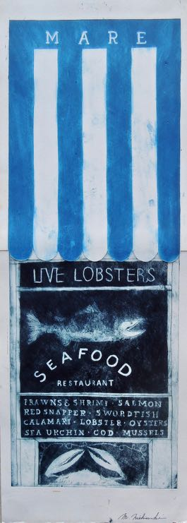 "Artist: Mitsushige Nishiwaki  Name: Mare Live Lobsters  Size: 9""x25.25""  Price:  Inquire   Method: etching  Condition: signed print"