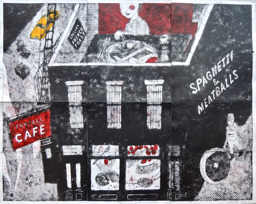 "Artist: Mitsushige Nishiwaki  Name: Cafe Fanelli  Size: 50.25""x40""  Price:  Inquire   Method: etching  Condition: signed print"