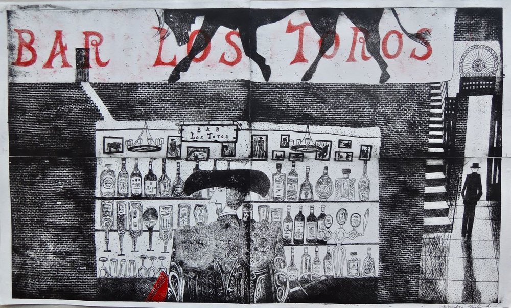 "Artist: Mitsushige Nishiwaki  Name: Bar Los Toros  Size: 20.5""x34""  Price:  Inquire   Method: etching  Condition: signed print"