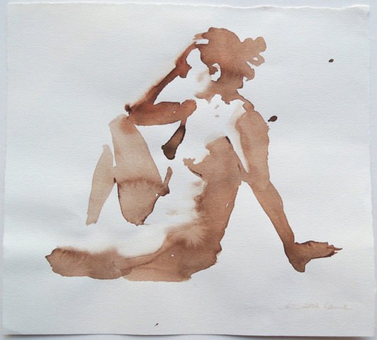 "Artist: Wendy Artin  Title: Laura, Sitting Hand on Head  Date: 2018  Size: 8 5/8"" x 7 3/4""  Method: Watercolor  Price:  Inquire"