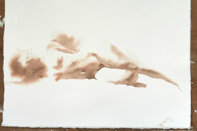 "Artist: Wendy Artin  Title: Laura Soft Resting on Side  Date: 2018  Size: 15"" x 8 5/8""  Method: Watercolor  Price:  Inquire"