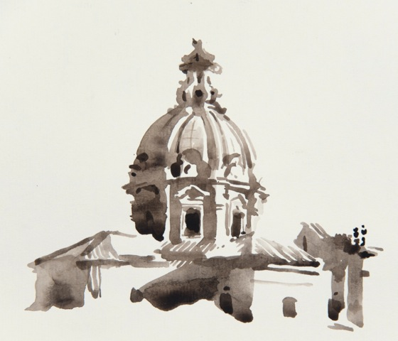 "Artist: Wendy Artin  Title: Dome from Via dei Fori  Date: 2016  Size: 7"" x 10""  Method: Watercolor  Price:  Inquire"