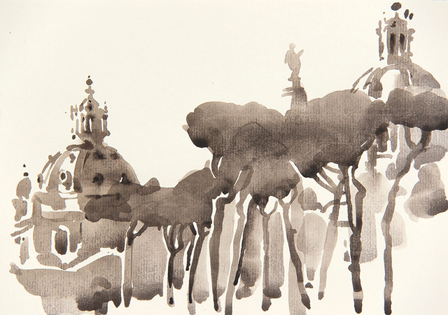 "Artist: Wendy Artin  Title: Trajans  Date: 2016  Size: 7"" x 10""  Method: Watercolor  Price:  Inquire"