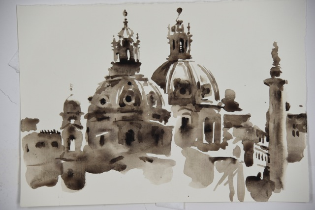 "Artist: Wendy Artin  Title: Twin Domes  Date: 2016  Size: 7"" x 10""  Method: Watercolor  Price:  Inquire"