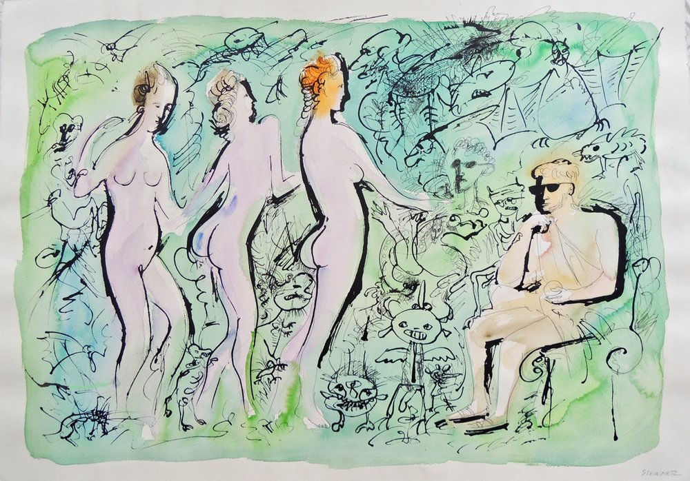 "Artist: Leon Steinmetz  Name: The Judgement of Paris  Size: 29.5"" x 41""  Method: ink, watercolor   Condition: original  Price:  Inquire"