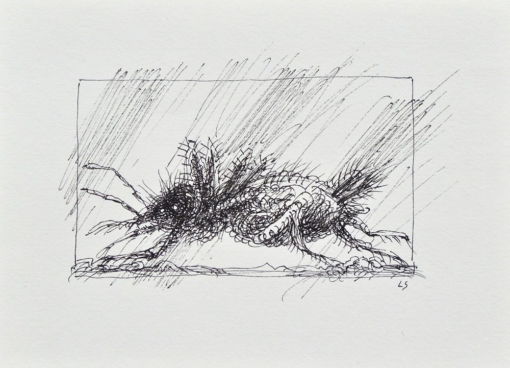 "Artist: Leon Steinmetz  Name: Insects of the Apocalypse 9  Size: 4"" x 6""  Method: pen and ink  Condition: original  Price:  Inquire"