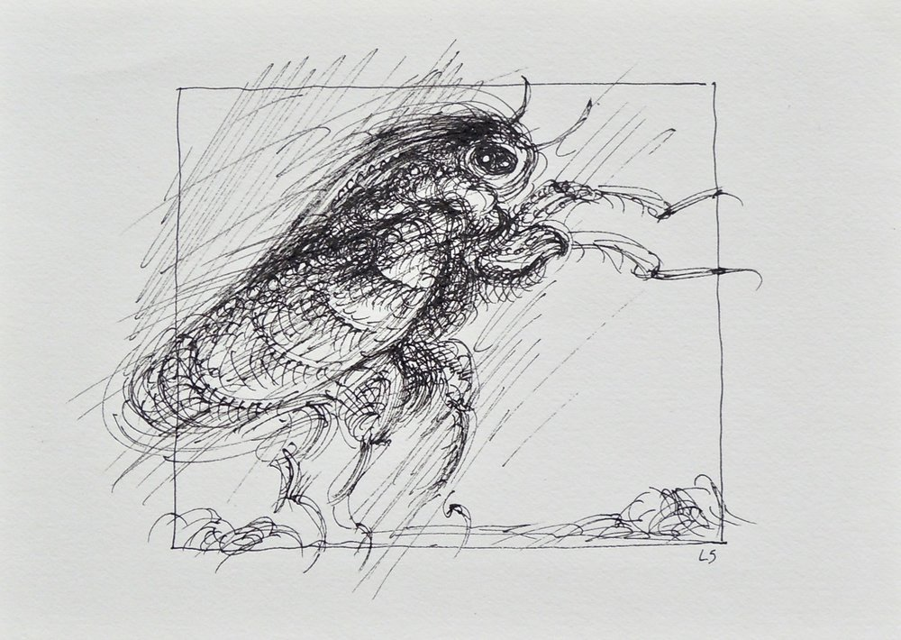 "Artist: Leon Steinmetz  Name: Insects of the Apocalypse 5  Size: 4"" x 6""  Method: pen and ink  Condition: original  Price:  Inquire"