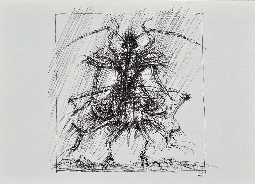 "Artist: Leon Steinmetz  Name: Insects of the Apocalypse 4  Size: 4"" x 6""  Method: pen and ink  Condition: original  Price:  Inquire"