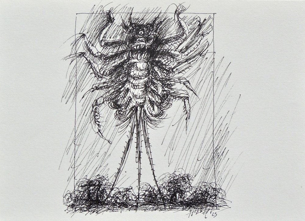 "Artist: Leon Steinmetz  Name: Insects of the Apocalypse 3  Size: 4"" x 6""  Method: pen and ink  Condition: original  Price:  Inquire"