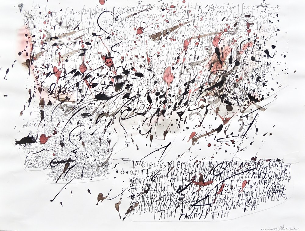 "Artist: Leon Steinmetz in collaboration with calligrapher John Cataldo  Name: Diary of a Madman 1  Size: 18"" x 22.75""  Method: mixed media  Condition: original  Price:  Inquire"