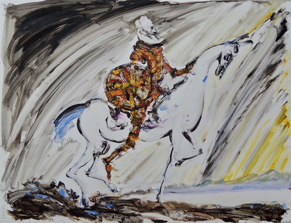 "Artist: Leon Steinmetz  Name: Don Quixote  Size: 20"" x 26.25""  Method: tempera on archival acrylic sheet  Condition: original  Price:  Inquire"