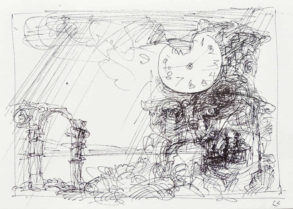 "Artist: Leon Steinmetz  Name: Time Piece 6  Size:4"" x 6""  Method: pen and ink  Condition: original  Price:  Inquire"