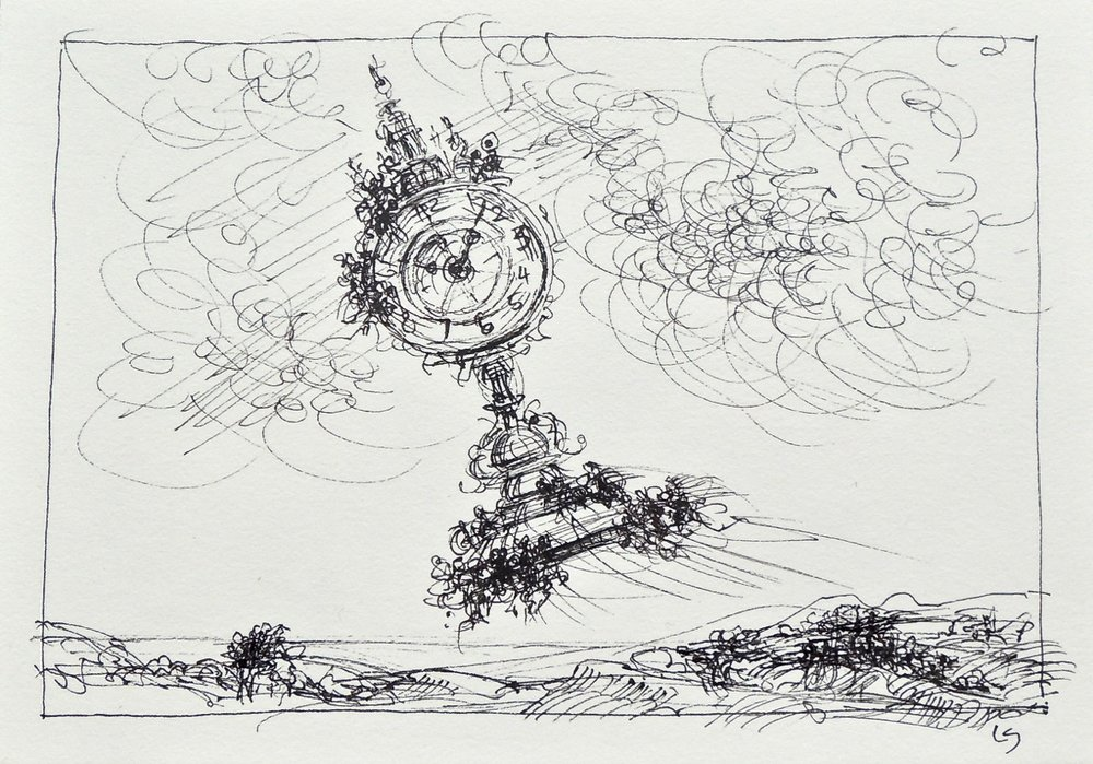 "Artist: Leon Steinmetz  Name: Time Piece 8  Size:4"" x 6""  Method: pen and ink  Condition: original  Price:  Inquire"