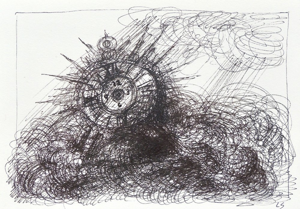 "Artist: Leon Steinmetz  Name: Time Piece 7  Size:4"" x 6""  Method: pen and ink  Condition: original  Price:  Inquire"