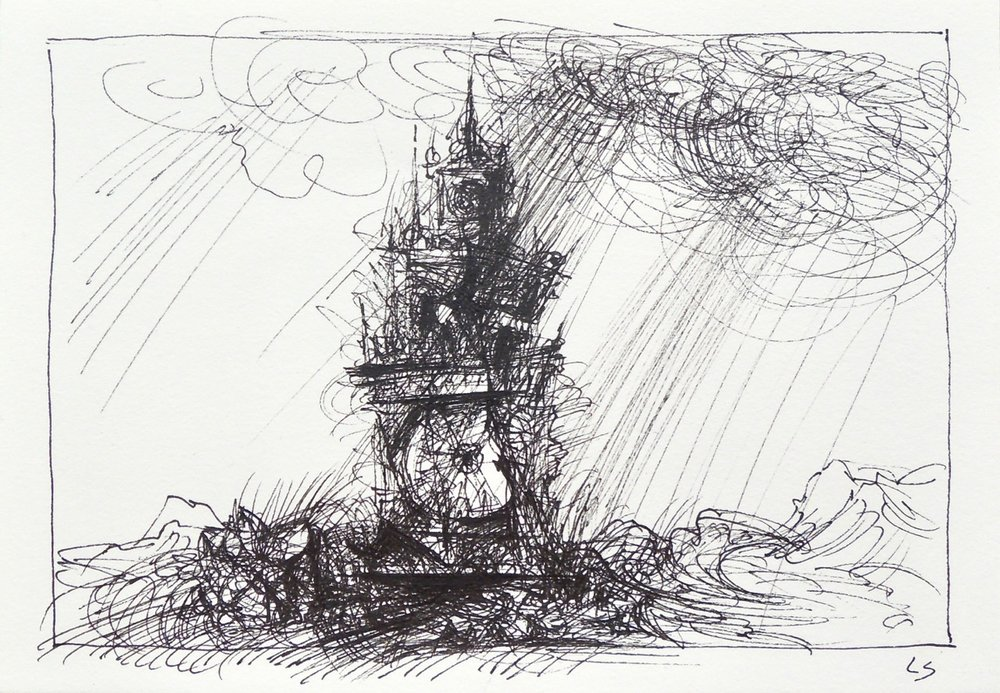 "Artist: Leon Steinmetz  Name: Time Piece 5  Size:4"" x 6""  Method: pen and ink  Condition: original  Price:  Inquire"