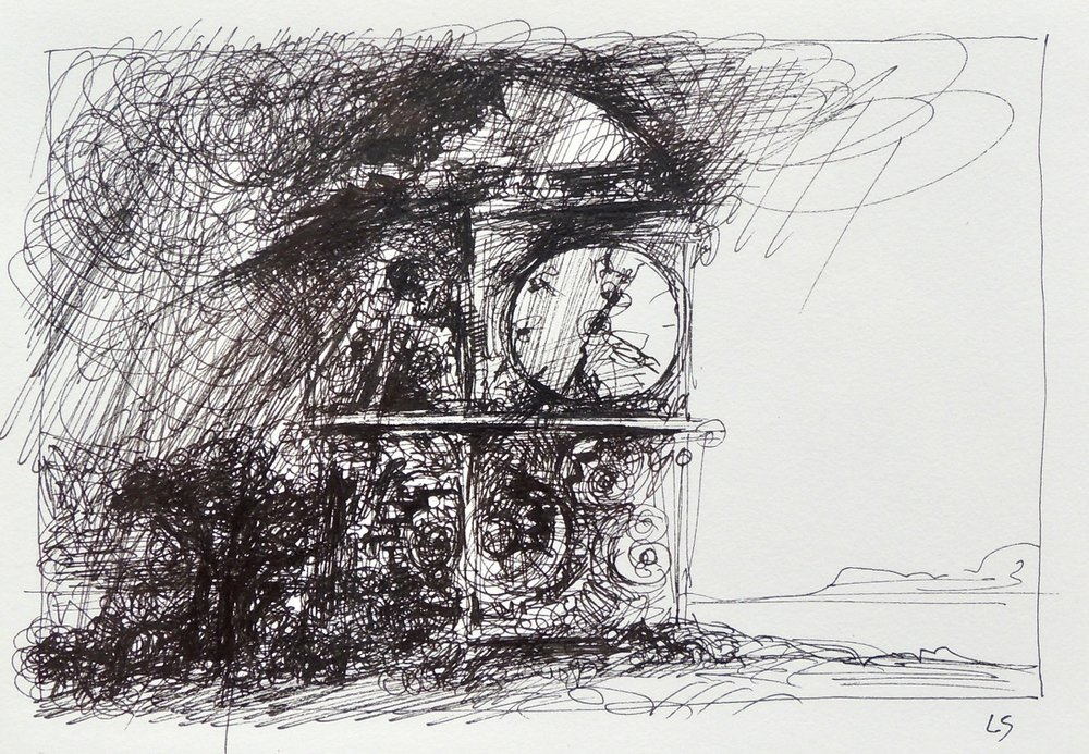 "Artist: Leon Steinmetz  Name: Time Piece 4  Size:4"" x 6""  Method: pen and ink  Condition: original  Price:  Inquire"