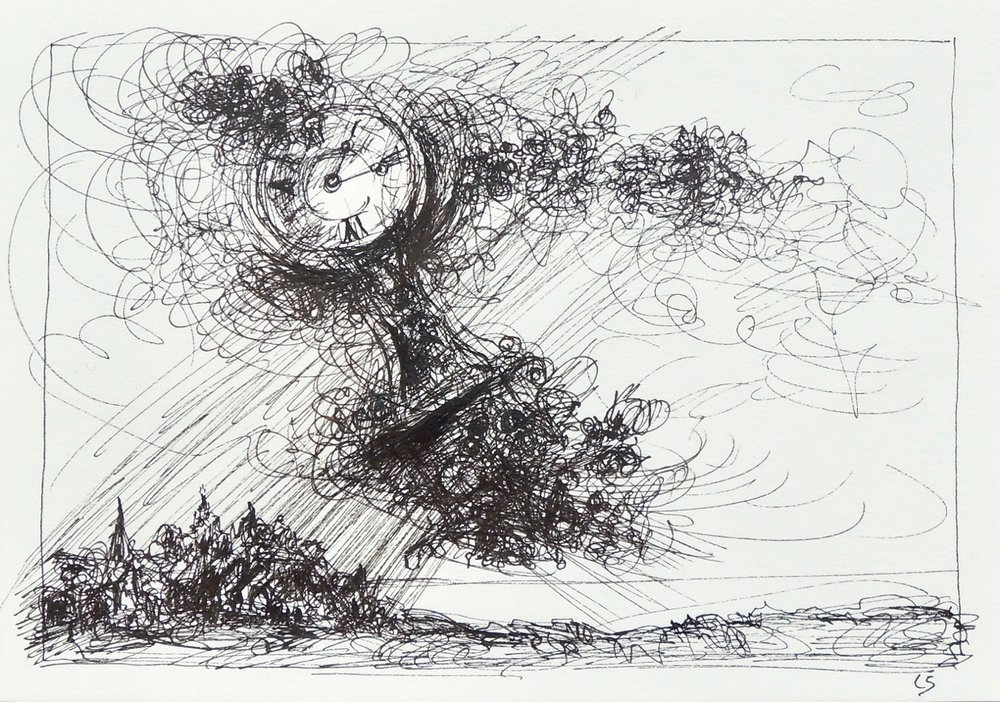 "Artist: Leon Steinmetz  Name: Time Piece 3  Size:4"" x 6""  Method: pen and ink  Condition: original  Price:  Inquire"