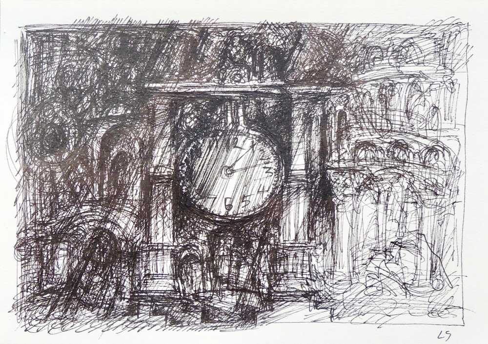 "Artist: Leon Steinmetz  Name: Time Piece 2  Size:4"" x 6""  Method: pen and ink  Condition: original  Price:  Inquire"
