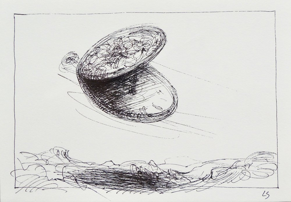 "Artist: Leon Steinmetz  Name: Time Piece 1  Size:4"" x 6""  Method: pen and ink  Condition: original  Price:  Inquire"