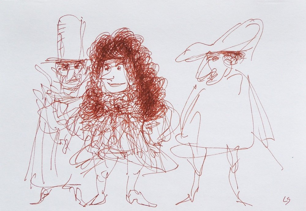 "Artist: Leon Steinmetz  Name: Theater 3  Size: 4"" x 6""  Method: pen and brown ink  Condition: original  Price:  Inquire"