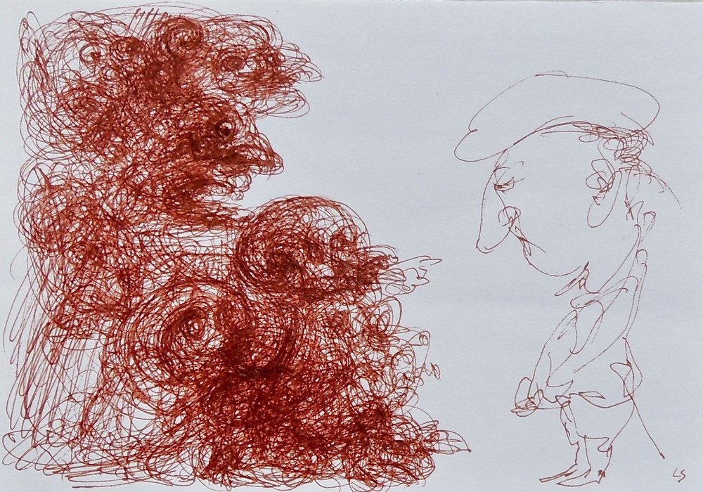 "Artist: Leon Steinmetz  Name: Theater 1  Size: 4"" x 6""  Method: pen and brown ink  Condition: original  Price:  Inquire"