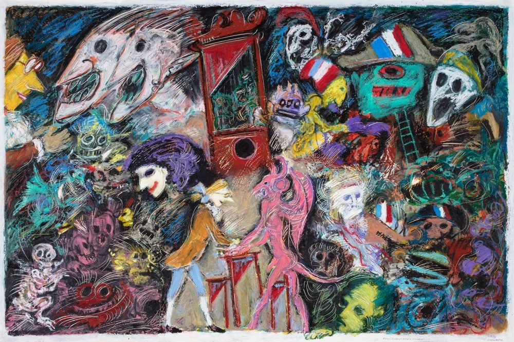 "Artist: Leon Steinmetz  Name: Robespierre's Dreams  Size: 24"" x 36""  Method: oil on board  Condition: original  Price:  Inquire"