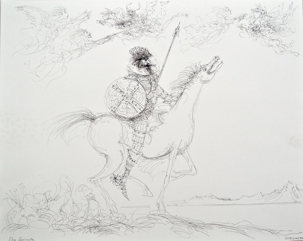 "Artist: Leon Steinmetz  Name: Don Quixote  Size: 19"" x 42""    Method: pen & ink  Condition: original  Price:  Inquire"