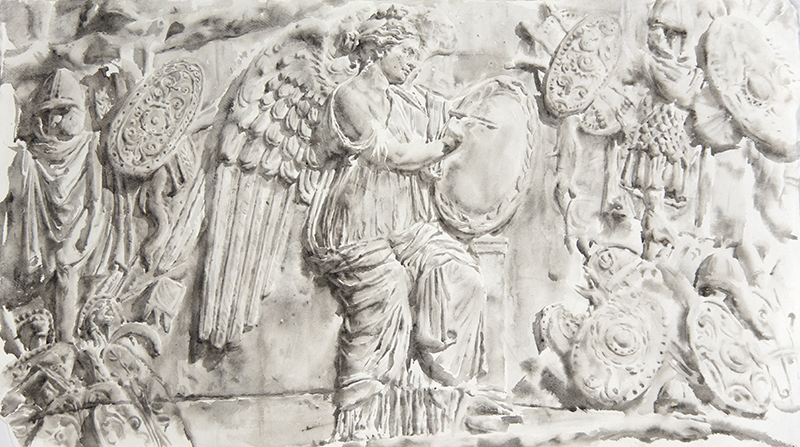 "Artist: Wendy Artin  Title: Big Angel Colonna Traiano  Date: 2018  Size: 22"" x 40""  Method: Watercolor  Price:  Inquire"