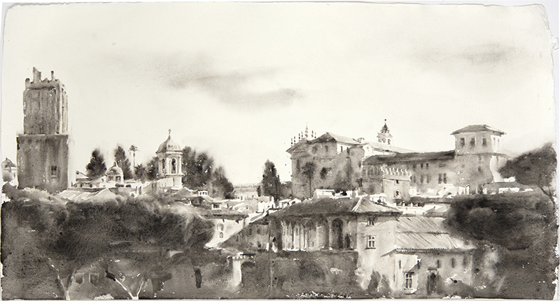 """Artist: Wendy Artin  Title: Big View Above Foro Traiano  Date: 2018  Size: 22"""" x 40""""  Method: Watercolor  Price:  Inquire"""