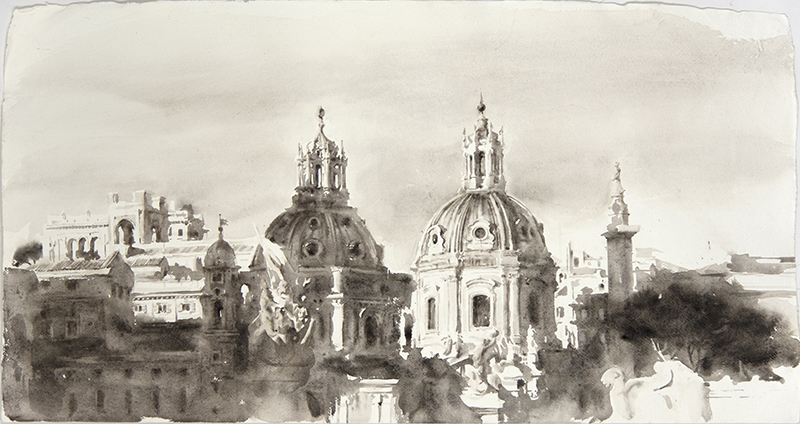 "Artist: Wendy Artin  Title: Big Twin Domes Foro Traiano  Date: 2018  Size: 22"" x 40""  Method: Watercolor  Price:  Inquire"
