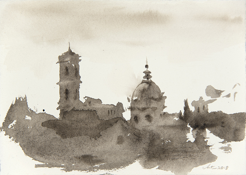 "Artist: Wendy Artin  Title: Shadowed Dome and Tower Foro  Date: 2018  Size: 5"" x 7""  Method: Watercolor  Price:  Inquire"