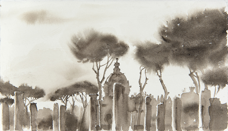 """Artist: Wendy Artin  Title: Columns Dome Pines  Date: 2018  Size: 5"""" x 9""""  Method: Watercolor  Price:  Inquire"""