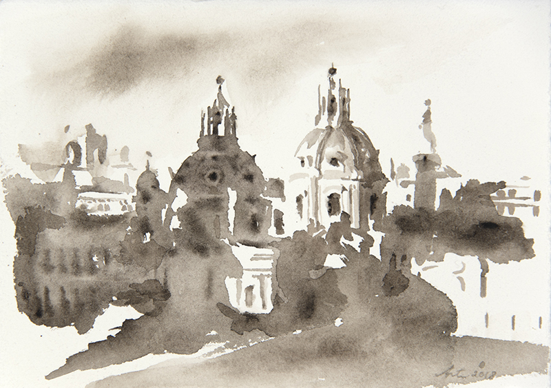 "Artist: Wendy Artin  Title: Twin Churches Foro Traiano  Date: 2018  Size: 5"" x 7""  Method: Watercolor  Price:  Inquire"
