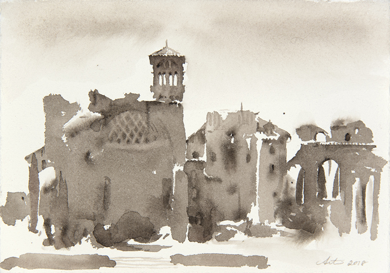 """Artist: Wendy Artin  Title: Ruined Dome Across from Colosseo  Date: 2018  Size: 5"""" x 7""""  Method: Watercolor  Price:  Inquire"""
