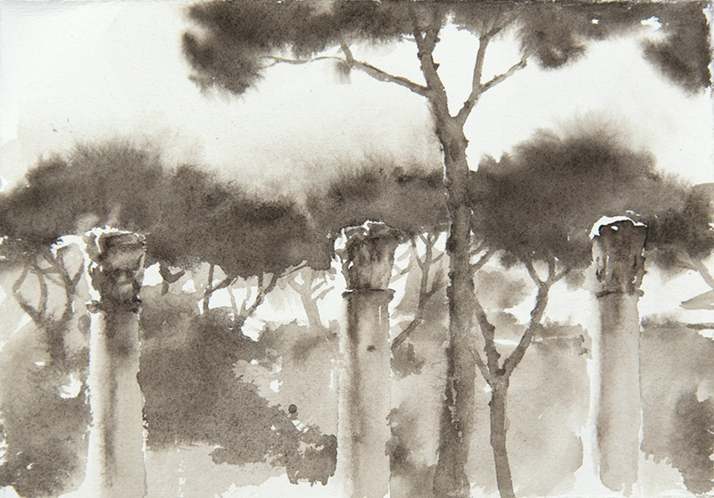 "Artist: Wendy Artin  Title: Pines and Columns  Date: 2018  Size: 5"" x 7""  Method: Watercolor  Price:  Inquire"
