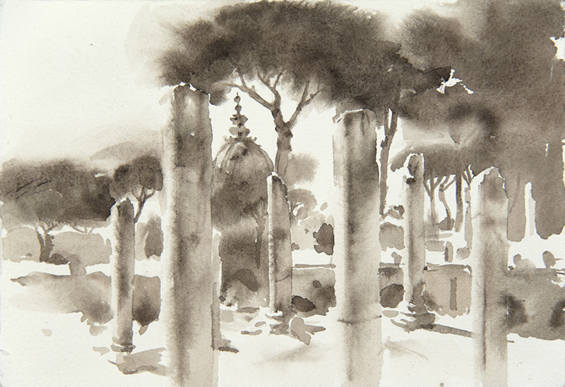 """Artist: Wendy Artin  Title: Dome Columns Pines  Date: 2018  Size: 5"""" x 7""""  Method: Watercolor  Price:  Inquire"""