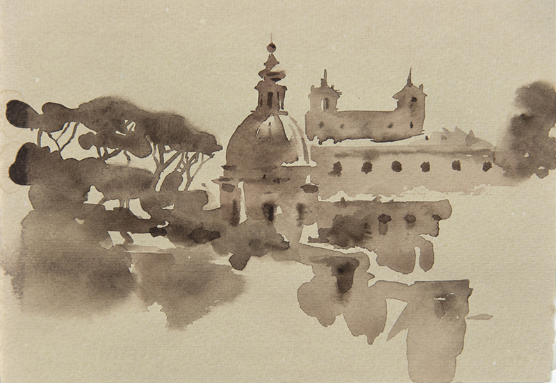 "Artist: Wendy Artin  Title: Come and Villa Medici  Date: 2018  Size: 5"" x 7""  Method: Watercolor  Price:  Inquire"