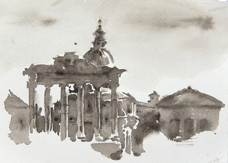 """Artist: Wendy Artin  Title: Temple of Saturn and Dome  Date: 2018  Size: 5"""" x 7""""  Method: Watercolor  Price:  Inquire"""