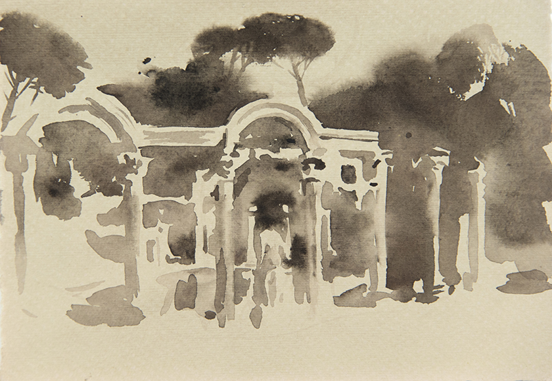 "Artist: Wendy Artin  Title: Villa Adriana Canopo  Date: 2018  Size: 5"" x 7""  Method: Watercolor  Price:  Inquire"