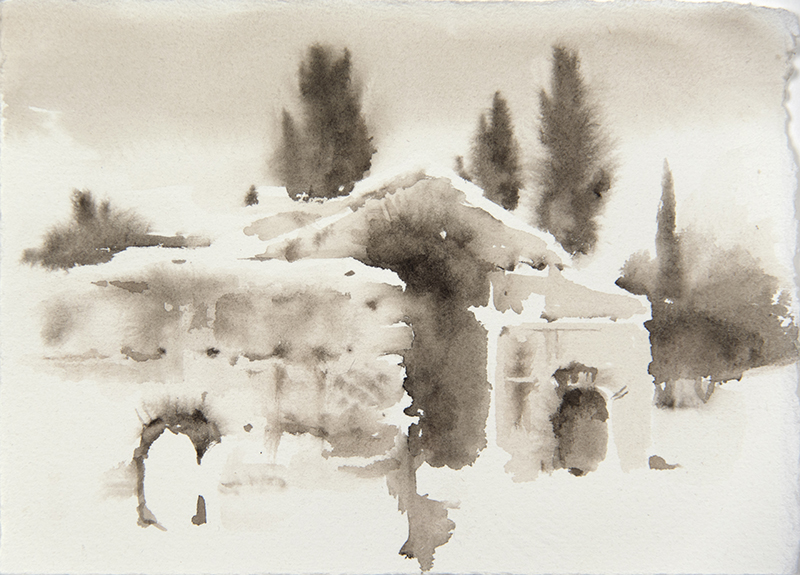 "Artist: Wendy Artin  Title: Villa Adriana by Pretorio  Date: 2018  Size: 5"" x 7""  Method: Watercolor  Price:  Inquire"