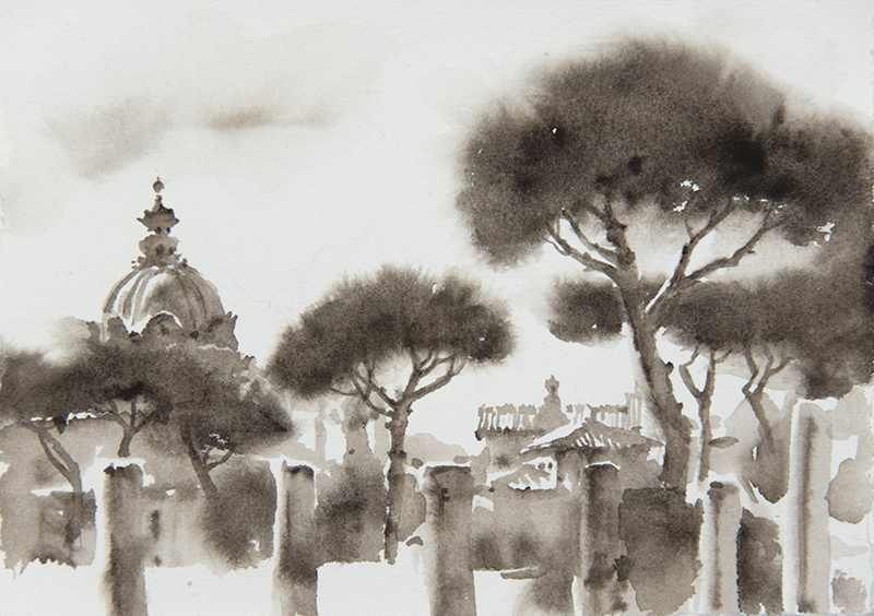 """Artist: Wendy Artin  Title: Pines Columns Dome  Date: 2018  Size: 5"""" x 7""""  Method: Watercolor  Price:  Inquire"""
