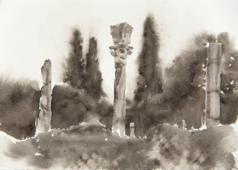 "Artist: Wendy Artin  Title: Villa Adriana Columns and Cypresses  Date: 2018  Size: 13"" x 18""  Method: Watercolor  Price:  Inquire"