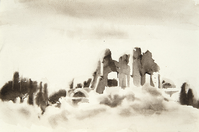 "Artist: Wendy Artin  Title: Villa Adriana Distant Ruins  Date: 2018  Size: 7.5"" x 11""  Method: Watercolor  Price:  Inquire"