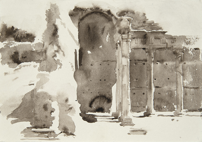 "Artist: Wendy Artin  Title: Villa Adriana Edificio Pilastri Dorici  Date: 2018  Size: 7.5"" x 11""  Method: Watercolor  Price:  Inquire"