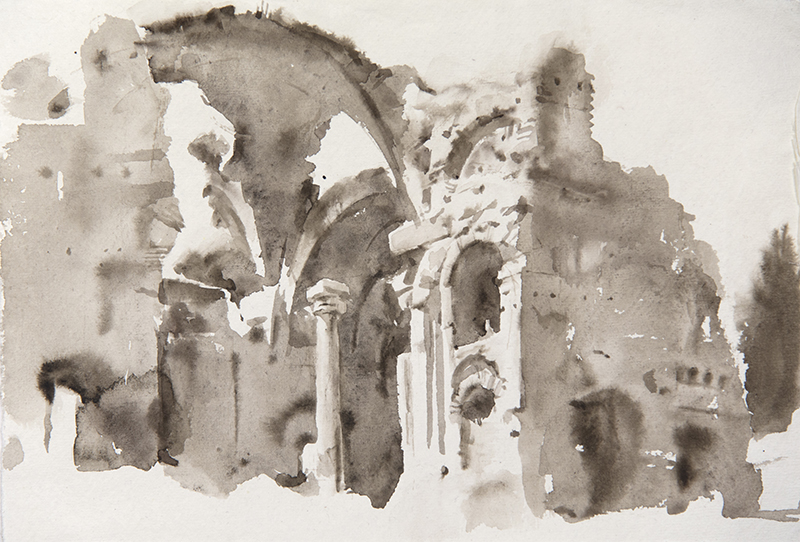 "Artist: Wendy Artin  Title: Villa Adriana Grandi Terme  Date: 2018  Size: 7.5"" x 11""  Method: Watercolor  Price:  Inquire"