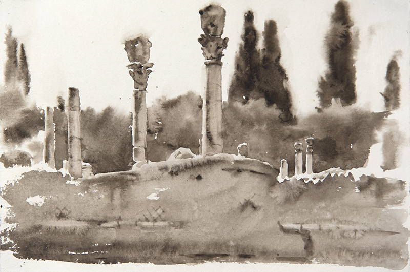 "Artist: Wendy Artin  Title: Villa Adriana Trees  Date: 2018  Size: 7.5"" x 11""  Method: Watercolor  Price:  Inquire"