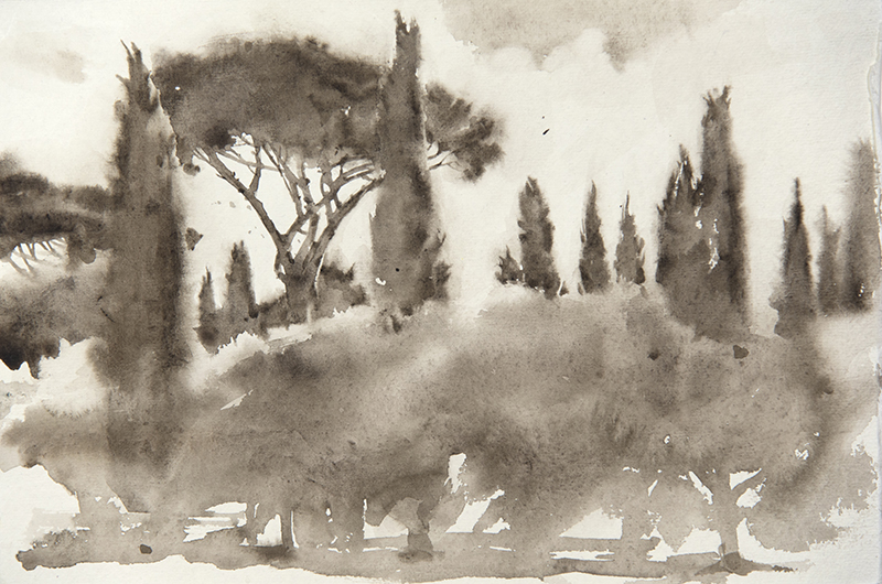 """Artist: Wendy Artin  Title: Villa Adriana Pines and Cypresses  Date: 2018  Size: 7.5"""" x 11""""  Method: Watercolor  Price:  Inquire"""